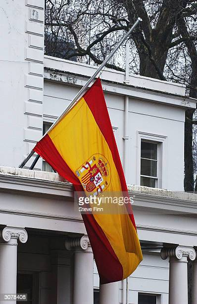 The Spanish Flag flies at halfmast outside the Spanish Embassy during a minute's silence held to honour the victims of the Madrid train bombings on...
