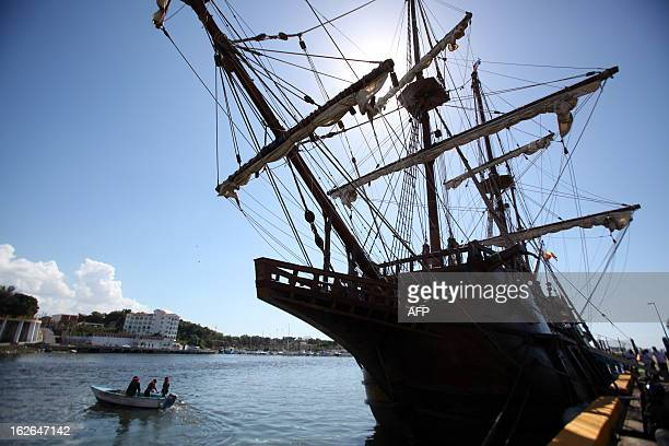 The Spanish galleon of the Constitution also known as La Pepa upon arrival at the port of Don Diego in Santo Domingo on February 25 2013 The vessel...