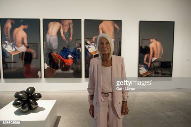 The Spanish gallery owner Soledad Lorenzo poses for a photo shoot during the press preview of the exhibition 'Punto de Encuentro' at the Reina Sofia...