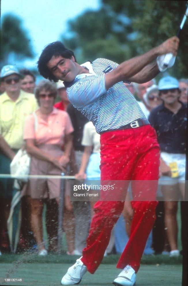 The Spanish golfer Severiano Ballesteros executing a swing, 1983, Costa del Sol, Malaga, Spain.