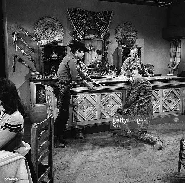 BONANZA 'The Spanish Grant' Episode 21 Aired 2/6/60 Pictured Pernell Roberts as Adam Cartwright Holly Bane as High Card Smith Salvador Baguez as...