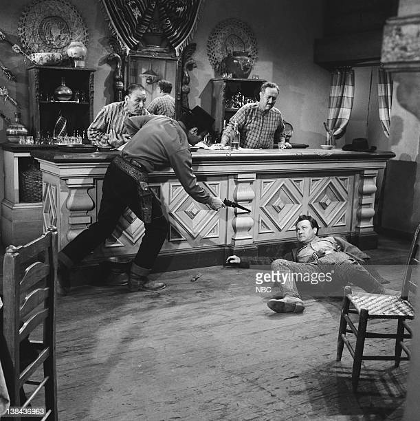 BONANZA 'The Spanish Grant' Episode 21 Aired 2/6/60 Pictured unknown Pernell Roberts as Adam Cartwright Salvador Baguez as Proprietor Holly Bane as...