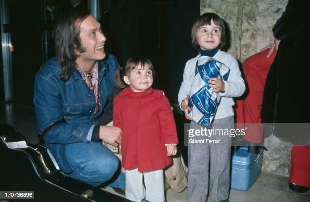 The Spanish guitarist Paco de Lucia with some children Madrid Castilla La Mancha Spain