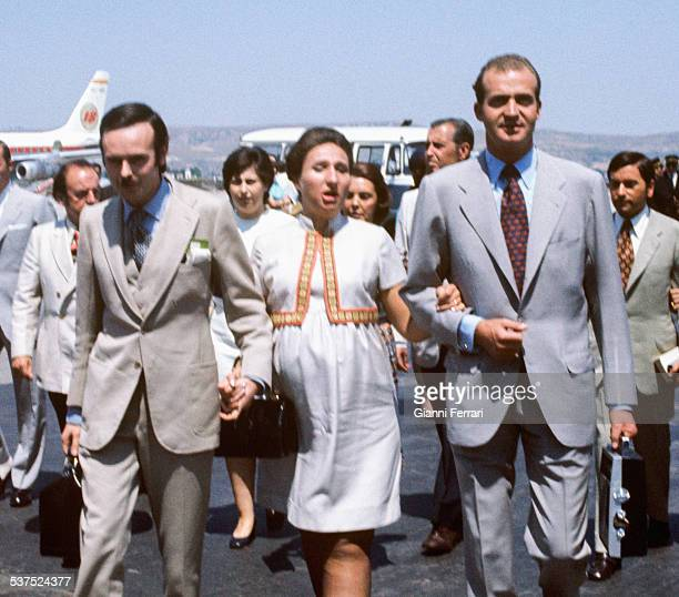 The Spanish King Juan Carlos received at the airport of Barajas his sister the Princess Margarita and her husband Carlos Zurita returning from...