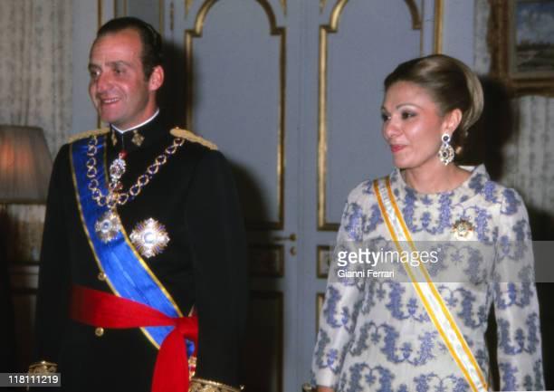 The Spanish Kings Juan Carlos and Empress Farah Diba at the Embassy of Spain Teheran Iran