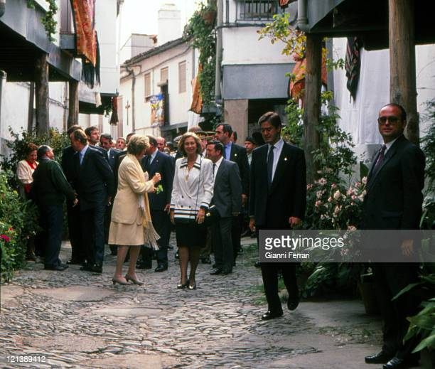 The Spanish Kings Juan Carlos and Sofia and the Belgian Queen Paola during a walk through the streets of Caceres Caceres Spain