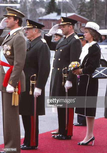 The Spanish Kings Juan Carlos and Sofia are greeted at the airport by Norwegian King Olav and the Crownprince Harald 14th April 1982 Oslo Norway
