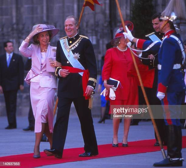 The Spanish Kings Juan Carlos and Sofia at the wedding of their daughter Cristina 4th October 1997 Barcelona Spain