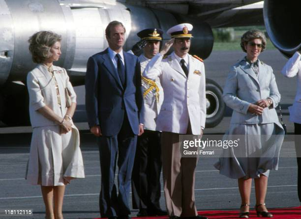 The Spanish Kings Juan Carlos and Sofia in official visit to Argentina received by the President Jorge Rafael Videla and his wife Buenos Aires...
