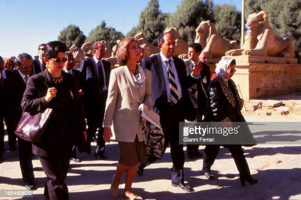 The Spanish Kings Juan Carlos and Sofia on his official trip to Egypt visit the Temple of Karnak in Luxor Twenty Second February 1997 Luxor Egypt