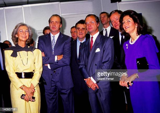 The Spanish Kings Juan Carlos and Sofia receives the visit of the kings of Sweden Carl Gustaf and Silvia Madrid Spain