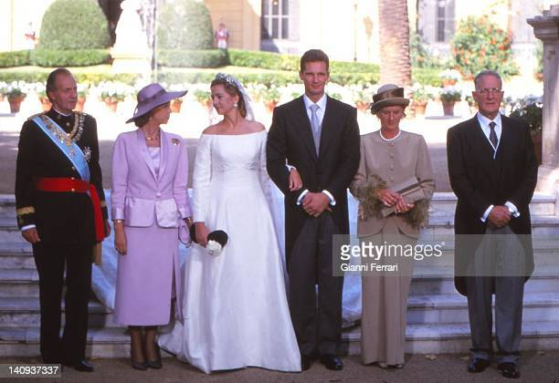 The Spanish Kings Juan Carlos and Sofia the Infanta Cristina her groom Inaqui Urdangarin the groom's parents Juan Maria and Claire at the Pedralbes...