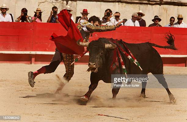The Spanish legend matador Jose Tomas pardons a Parlade fighting bull during a historic solo bullfight against six bulls as part of the 61th Feria de...