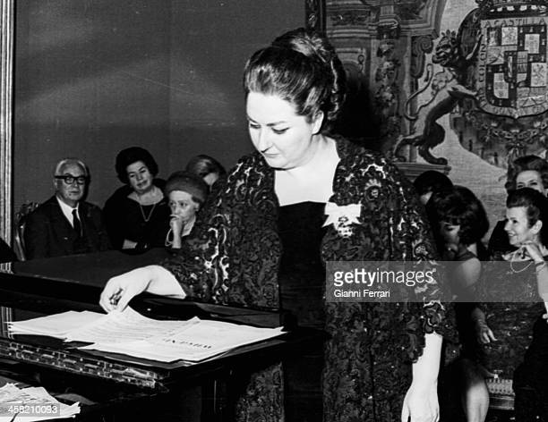 The Spanish lyric singer Montserrat Caballe during a concert at the 'Palacio de Liria' Madrid Castilla La Mancha Spain