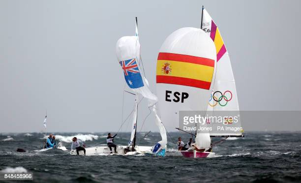 The Spanish Olympic matchrace crew Tamara Echegoyen Dominguez Sofia Toro Prieto Puga and Angela Pumariega Menendez on their way to a gold medal...