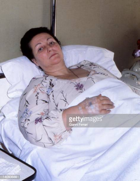 The Spanish opera singer Montserrat Caballe in a hospital Barcelona Spain