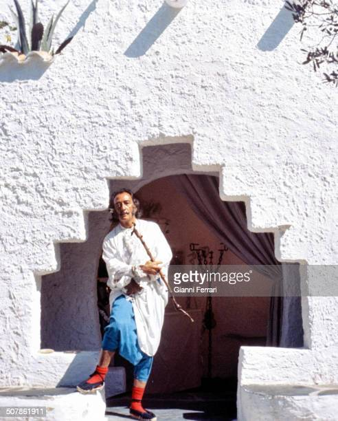 The Spanish painter Salvador Dali during the recording of the program 'Double Image' of the Spanish Television 26th January1969 Port Lligat Cadaques...