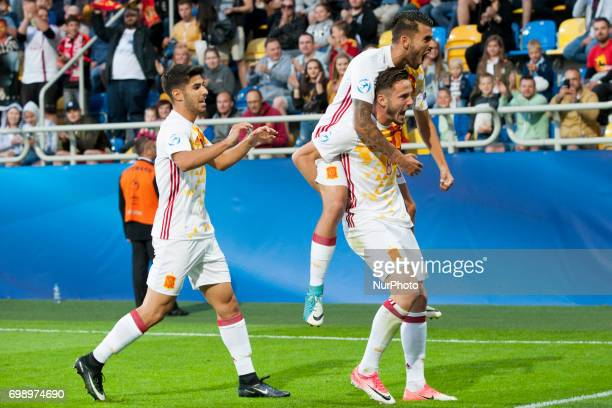 The Spanish players celebrate after Saul Niguez goal during the UEFA European Under21 Championship 2017 Group B match between Portugal and Spain at...