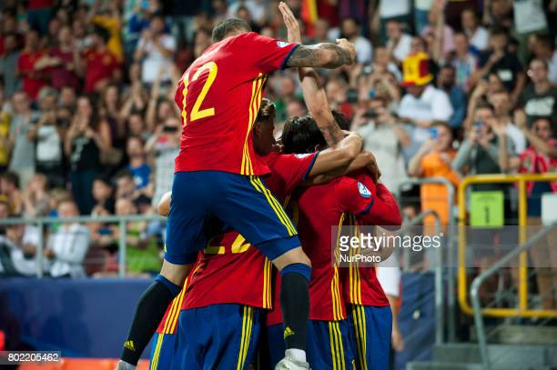 The Spanish players celebrate during the UEFA European Under21 Championship SemiFinal match between Spain and Italy at Krakow Stadium in Krakow...