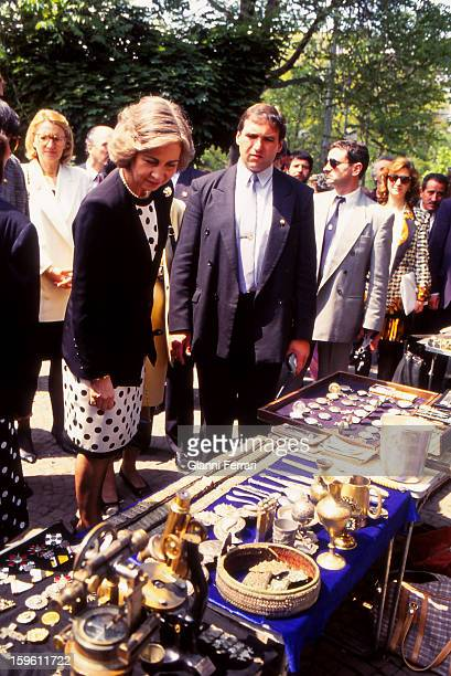 The Spanish Queen Sofia at a street market 24th May Sofia Bulgaria