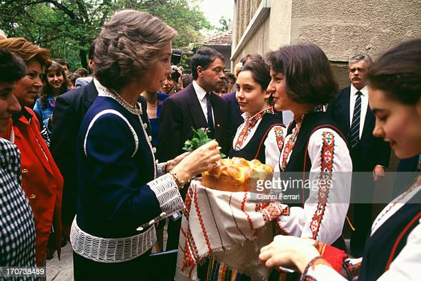 The Spanish Queen Sofia during her official trip to Bulgaria visit the Spanish Liceum Miguel de Cervantes 25th May 1993 Sofia Bulgaria