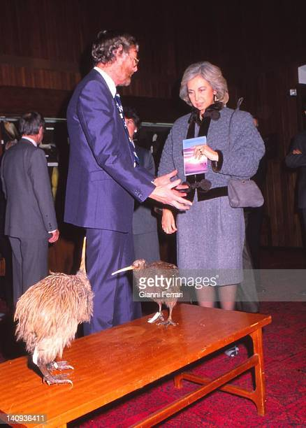 The Spanish Queen Sofia during her visit to the Anthropological Museum in Christchurch 21st June 1988 Wellington New Zealand