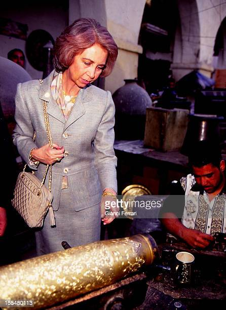 The Spanish Queen Sofia on her official trip to Egypt visit a handicraft workshop Twenty First February 1997 Cairo Egipt