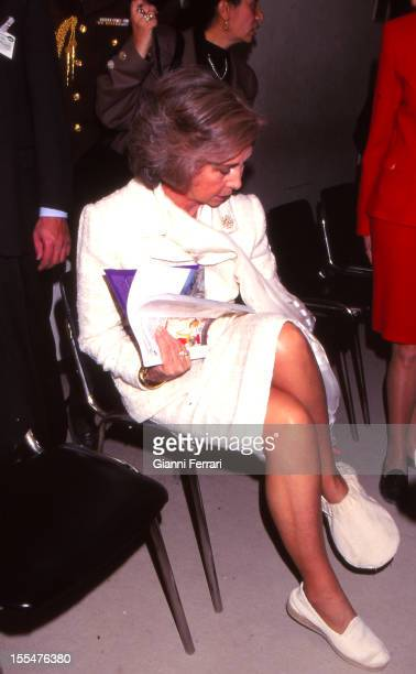 The Spanish Queen Sofia on her official visit to Egypt takes off her shoes before entering a mosque Twenty First February 1997 Cairo Egypt