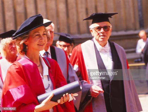 The Spanish Queen Sofia received the title of doctor honoris causa at the University of Oxford 19th June 1989 Oxford London