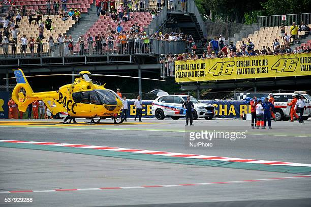 The Spanish ride Luis Salom after the accident during the Moto2 Free Prctice 2 June 3 2016 in Barcelona Spain