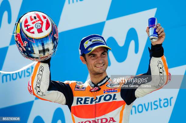 The Spanish rider Daniel Pedrosa of Repsol Honda Team celebrating his 2nd place during the Gran Premio Movistar de Aragón on September 24 2017 in...