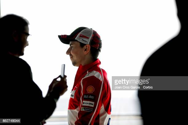 The Spanish rider Jorge Lorenzo of Ducati Team going to the press conference after the Gran Premio Movistar de Aragón Qualifying on September 23 2017...