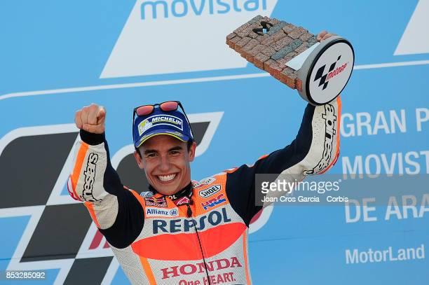 The Spanish rider Marc Marquez of Repsol Honda Team celebrating his victory during the Gran Premio Movistar de Aragón on September 24 2017 in Alcañiz...