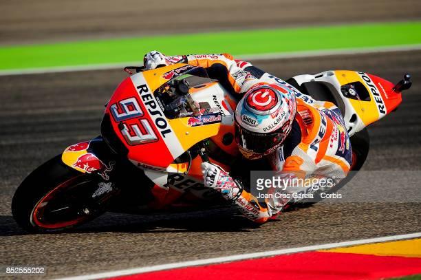 The Spanish rider Marc Marquez of Repsol Honda Team in action with his Honda during the Gran Premio Movistar de Aragón free practice 3 on September...