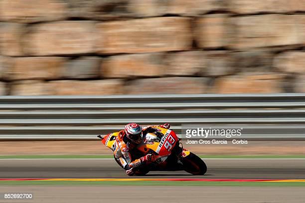 The Spanish rider Marc Marquez of Repsol Honda Team in action with his Honda during the Gran Premio Movistar de Aragón Qualifying on September 23...