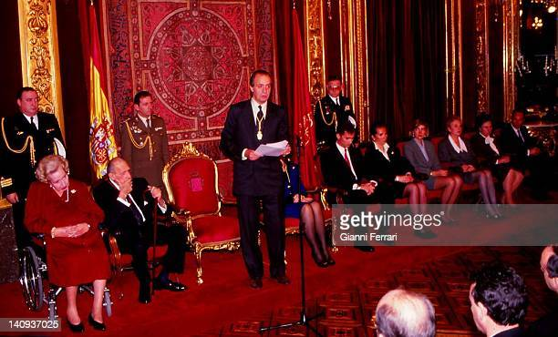 The Spanish royal family in the delivery of the gold medal of Navarre to the father of the King Juan Carlos Don Juan de Borbon at the Zarzuela Palace...