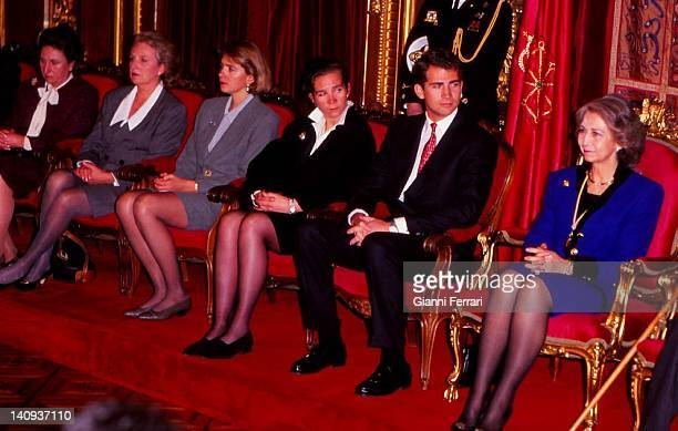 The Spanish royal family in the delivery of the gold medal of Navarre to the father of King Juan Carlos Don Juan de Borbon at the Zarzuela Palace the...