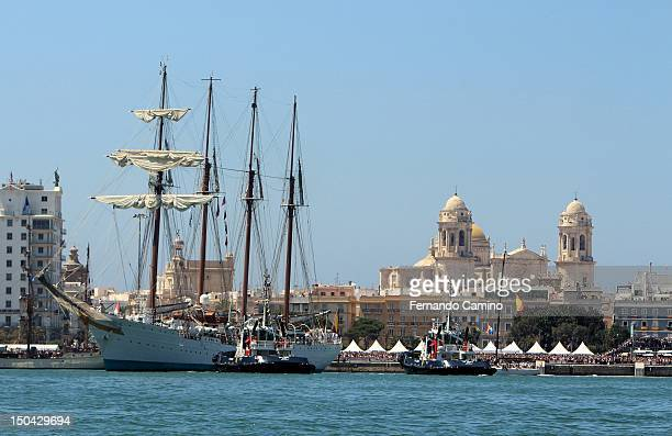 The Spanish school Goleta 'Juan Sebastian de Elcano' Class 'A' of 1927 the bottom of the picture you can see the Cathedral of Cadiz takes part in the...