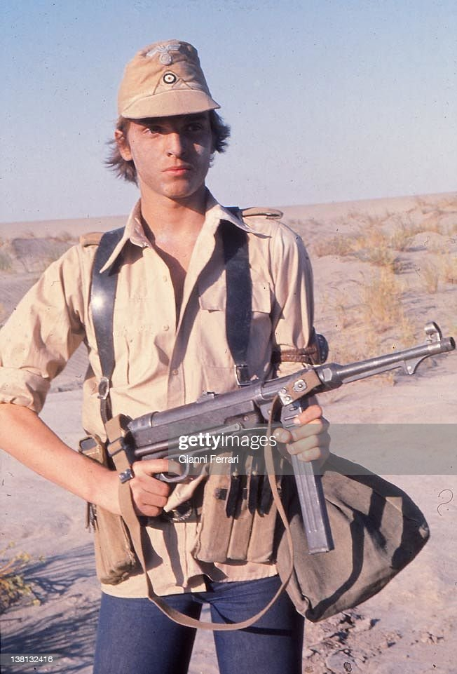 The Spanish singer and actor Miguel Bose during the filming of the movie 'Los Heroes' Almeria Spain