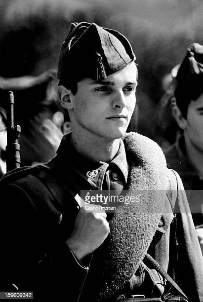 The Spanish singer and actor Miguel Bose during the military service Madrid Spain