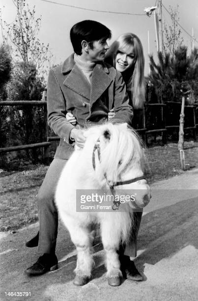 """The Spanish singer and actress Marisol with the bullfighter Palomo Linares during the filming of """"Volver a empezar' 10th February 1968 Madrid Spain"""