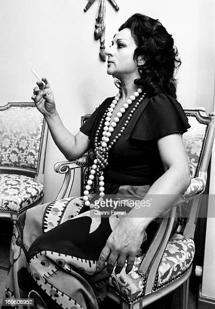 The Spanish singer and dancer Lola Flores at a party at her home in Madrid Madrid Castilla La Mancha Spain