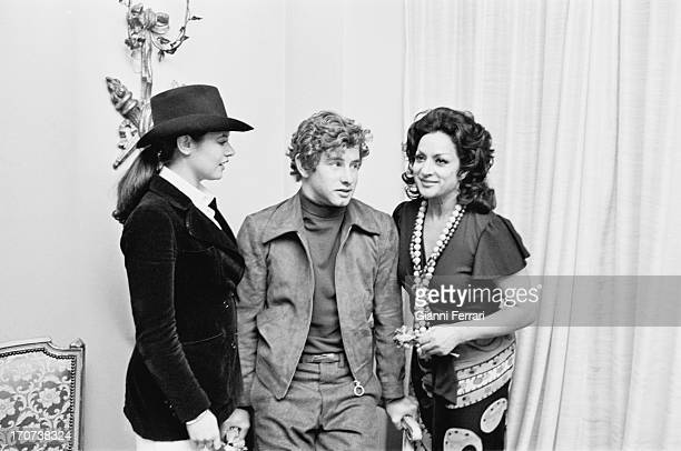 The Spanish singer and dancer Lola Flores at a party at her home in Madrid with the Spanish singer and actress Teresa Rabal Madrid Castilla La Mancha...