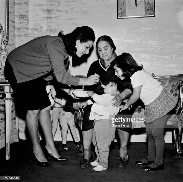 The Spanish singer and dancer Lola Flores at her home in Madrid with her children Lolita and Antonio Madrid Castilla La Mancha Spain
