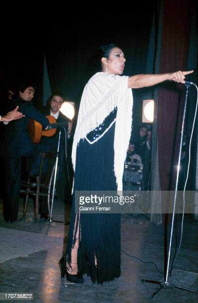 The Spanish singer and dancer Lola Flores during a show Madrid Castilla La Mancha Spain