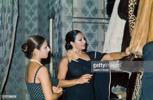 The Spanish singer and dancer Lola Flores shopping with her daughter Lolita Madrid Castilla La Mancha Spain