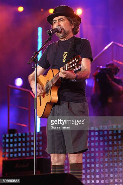 """The Spanish singer Joaquin Sabina performing during the 40th Anniversary of the """"40 Principales""""in the Vicente Calderon Stadium 17th June 2006 Madrid..."""