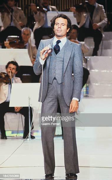 The Spanish singer Julio Iglesias during a concert Madrid Castilla La Mancha Spain