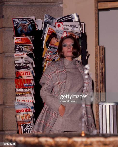 The Spanish singer Rocio Jurado shopping 4th December 1974 Madrid Spain