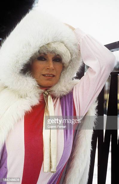 The Spanish singer Rocio Jurado with a fur coat Madrid Castilla La Mancha Spain
